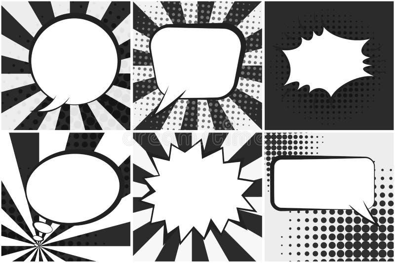 Satz Retro- komische Spracheschwarzweiss-blasen lizenzfreie abbildung