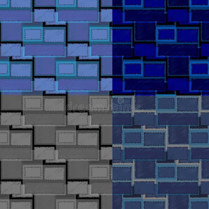 Satz Retro- quadratische Formmuster stockbilder