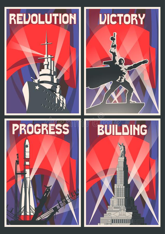 Satz Retro- sowjetischer Poster stock abbildung