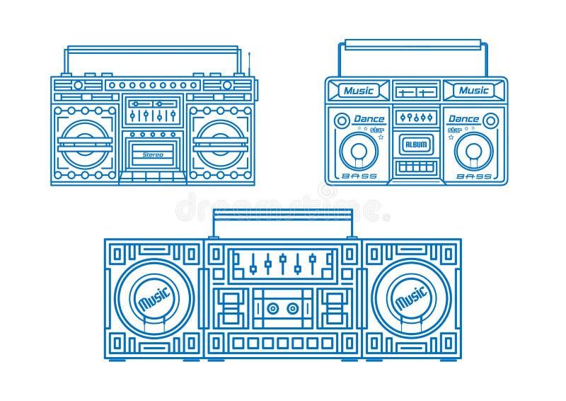 Satz Retro- Tonbandgeräte Musiktechnologie Retro- Audiosatz lizenzfreie abbildung