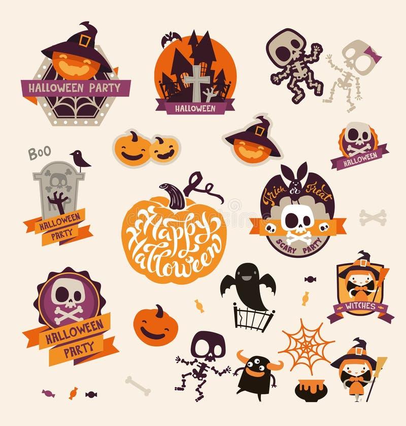 Satz Retro- Weinlese-glückliche Halloween-Ausweise, Aufkleber, Aufkleber Gestaltungselemente für Gruß-Karte oder Partei-Flieger lizenzfreie abbildung