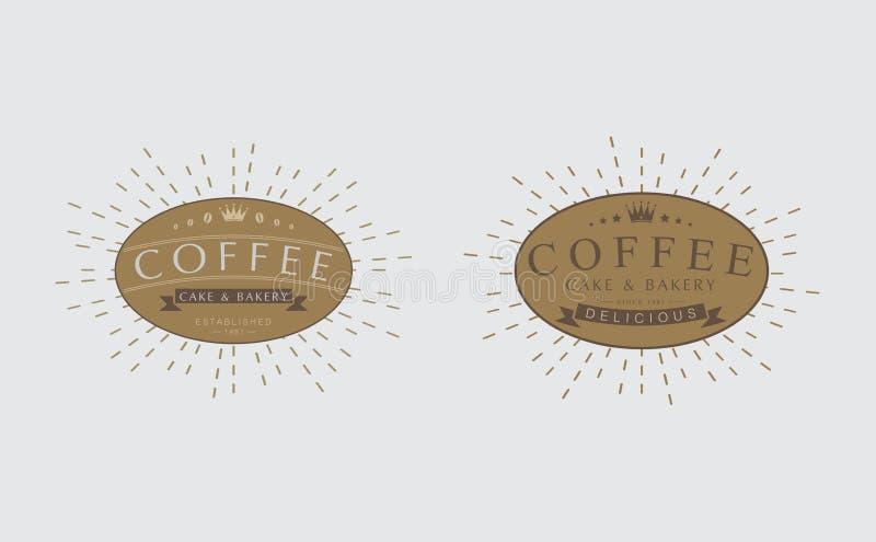 Satz Retro- Weinlese-Kaffeeausweise, Logos, Aufkleber, vektor abbildung