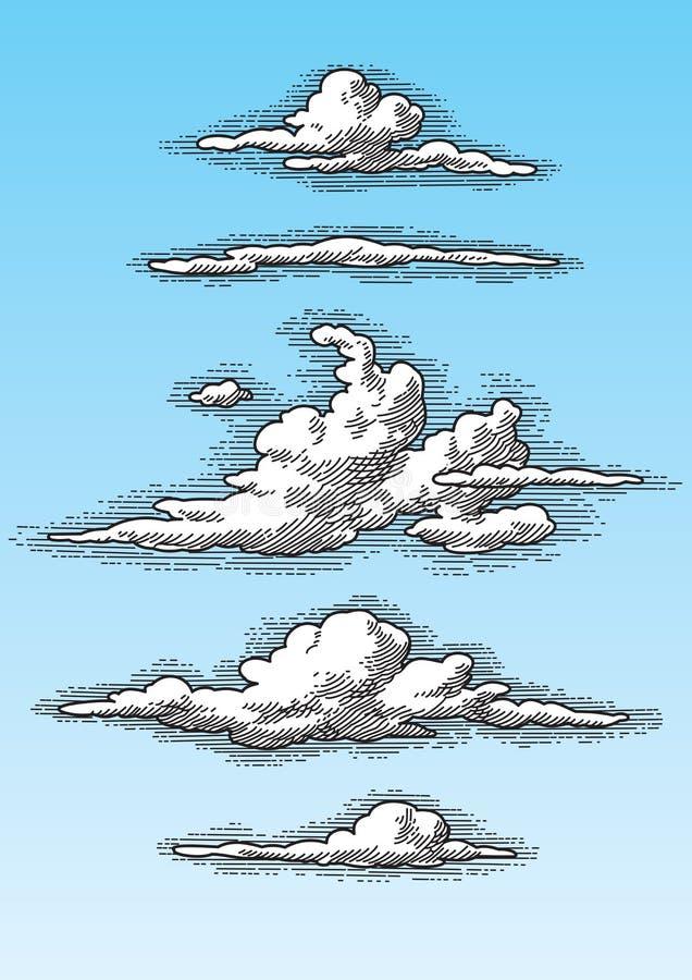 Satz Retro- Wolken stockfotos
