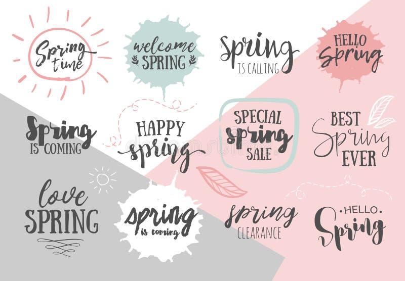 Satz romantische handgeschriebene Zitate des inspirierend Frühlinges Gute FO lizenzfreie abbildung