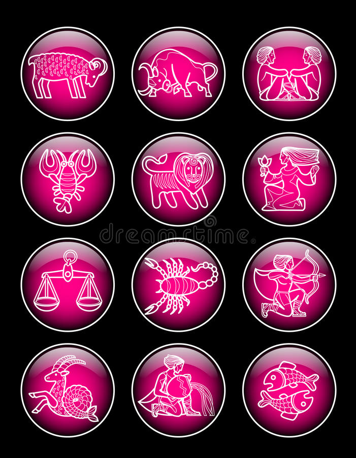 Satz rosa glatte runde Ikonen mit weißem linearem zodiacal Symbol vektor abbildung