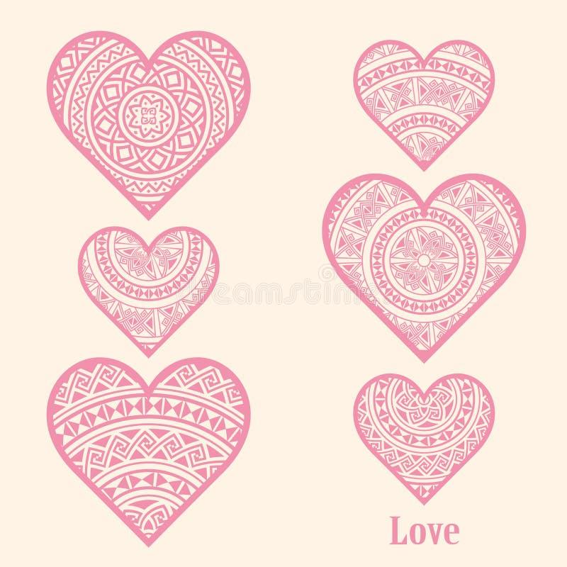 Satz rosa Herzen vektor abbildung