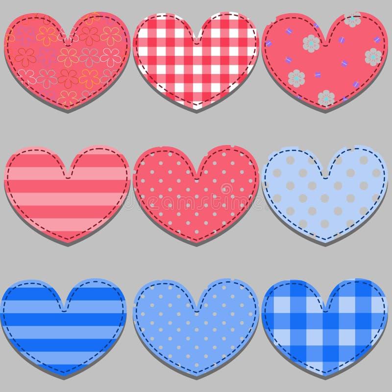 Satz rosa und blaue Herzen gemacht vom Stoff lizenzfreie abbildung