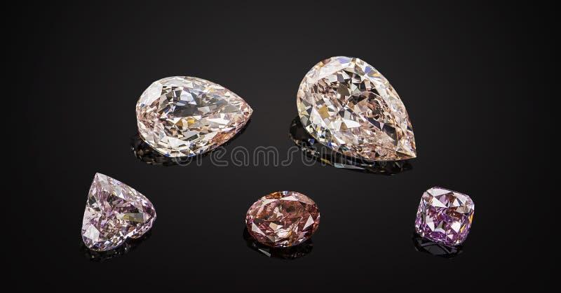 Satz rosa und purpurrote transparente funkelnde Luxusedelsteine der verschiedenen Schnittform-Diamantcollage auf schwarzem Hinter lizenzfreie stockfotografie