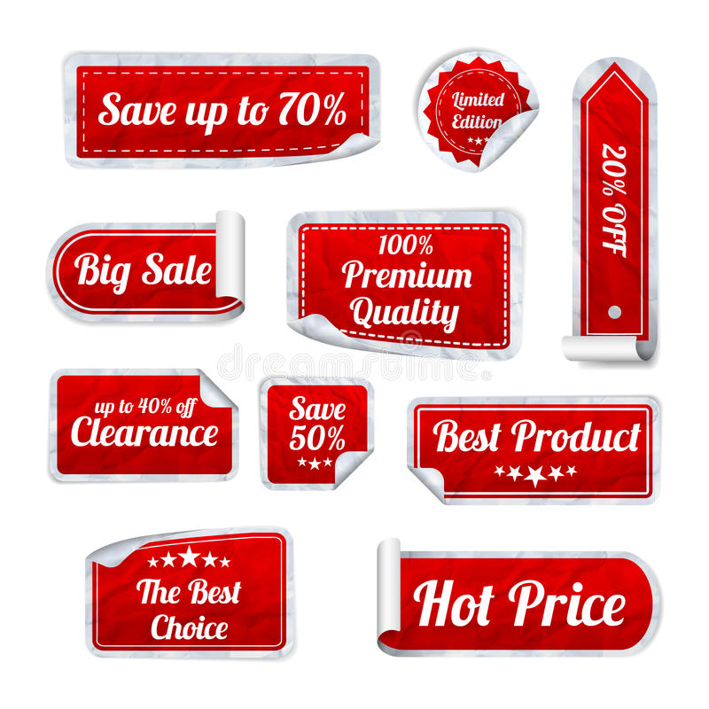 Satz Rot zerknitterte Papier-VERKAUFS-Aufkleber auf weißem Hintergrund Rou stock abbildung