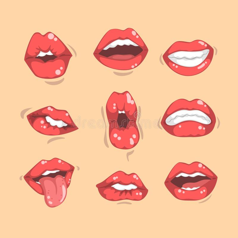 Satz rote Frauen ` s Lippen mit verschiedenen Gefühlen Weibliche Münder mit den weißen Zähnen Flacher Vektor für bewegliche APP,  lizenzfreie abbildung