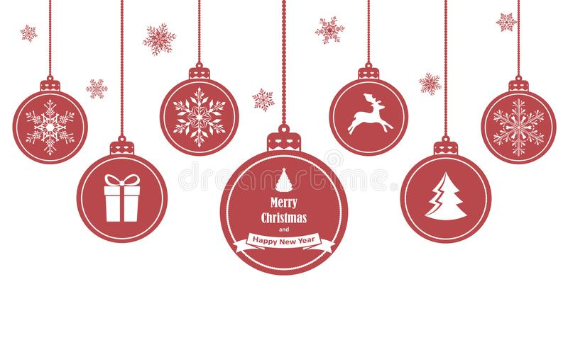 Satz rote hängende Weihnachtsbälle mit Symbolen wie Schneeflocke, Rotwild, Geschenk und Weihnachtsbaum, lokalisiert auf weißem Hi stock abbildung