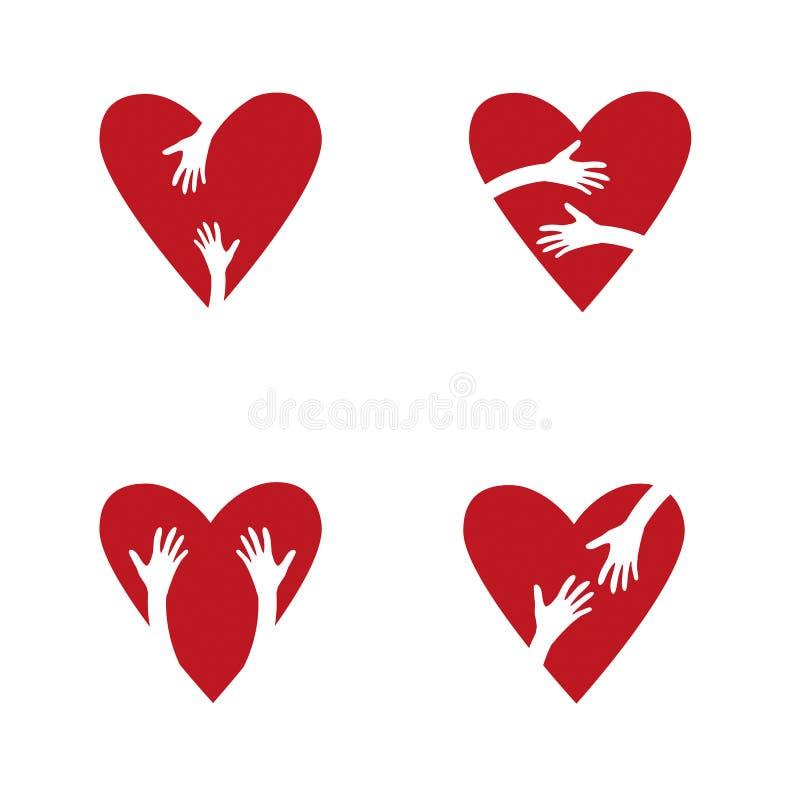 Satz rote Herzen und Hände Liebe, Hoffnung, Sorgfalt-Logo vektor abbildung