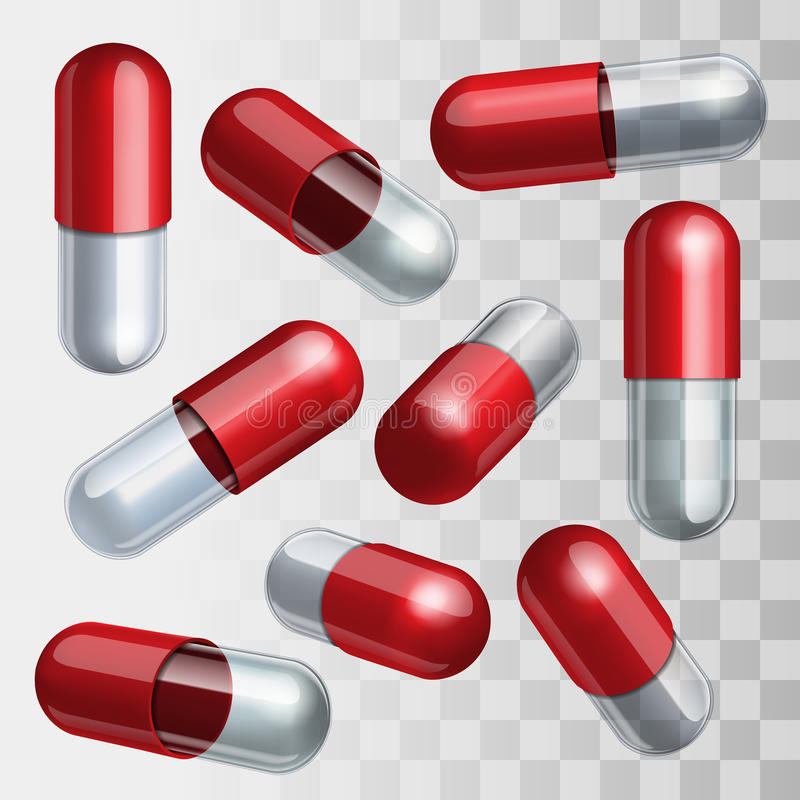 Satz rote und transparente medizinische Kapseln herein vektor abbildung