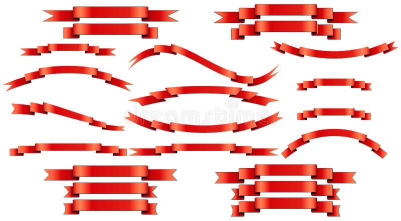 Satz rote Vektorseidenbänder auf weißem Hintergrund lizenzfreie abbildung