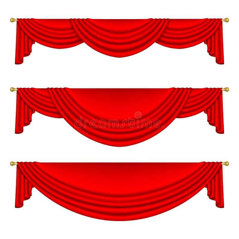 Satz rote Vorhänge Getrennt stock abbildung