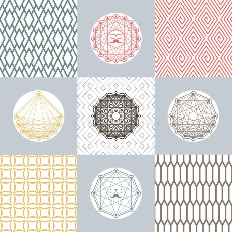 Satz runde Formen und Ikonen auf Hintergründen mit geometrischem Muster Einfache einfarbige Konzepte lizenzfreie abbildung