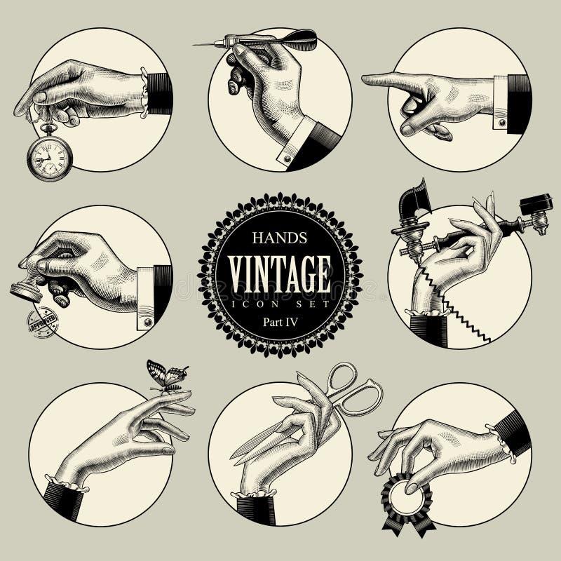Satz runde Ikonen in der Weinlesestichart mit den Händen und ACC lizenzfreie abbildung