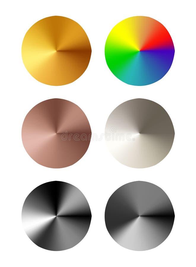 Satz runde Schablonen des Metallknopfes vektor abbildung