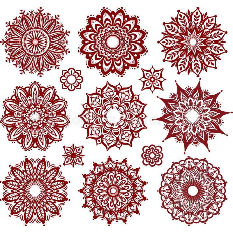 Satz runde Verzierungs-Muster lizenzfreie abbildung