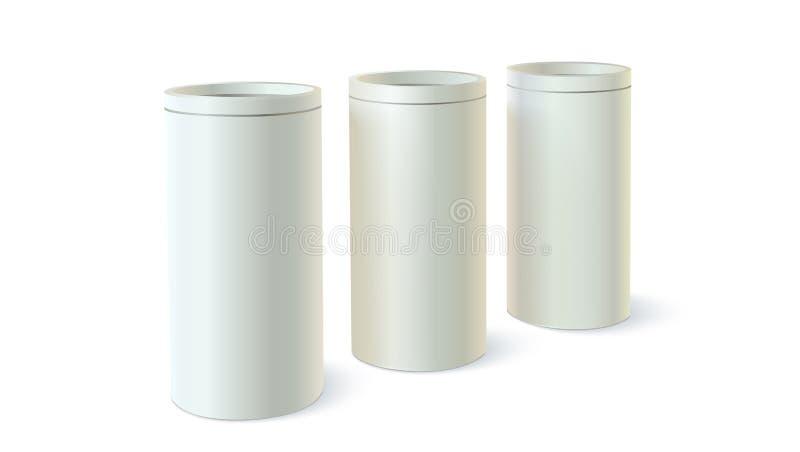 Satz rundes Zinn der Verpackung für Massenprodukte Zylinderförmiges geformtes des Behälters, Ikone der leeren runden Blechdosesch vektor abbildung