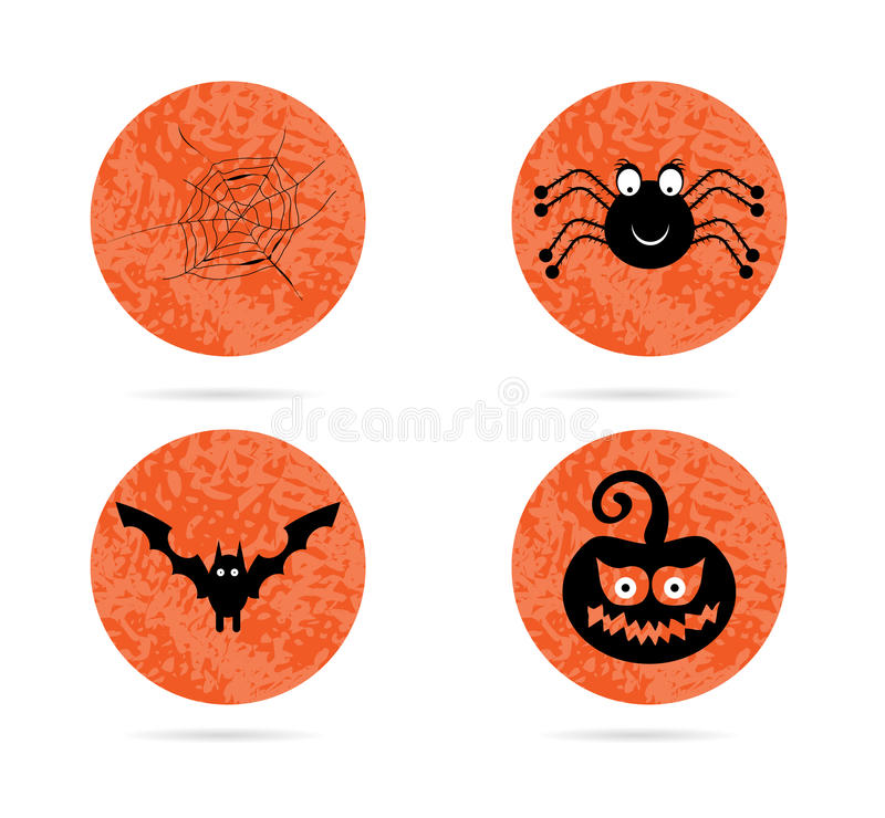 Satz, Sammlung, Gruppe von vier, Orange, Halloween stock abbildung