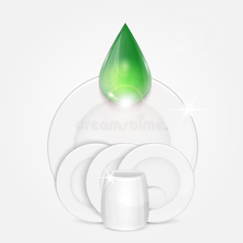 Satz saubere Teller und grüner Tropfen stockfoto
