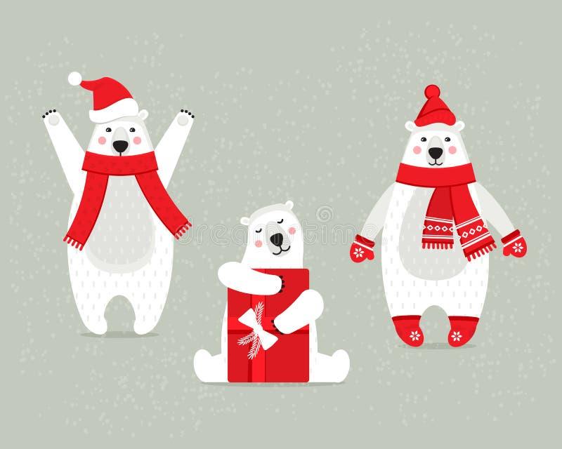 Satz schöne weiße polare Weihnachtsbären, im Winter kleidet vektor abbildung