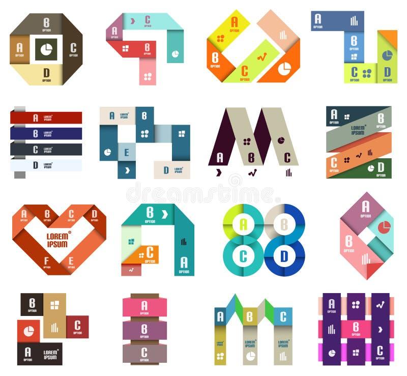 Satz Schablonen des modernen Entwurfs des Origamis stock abbildung