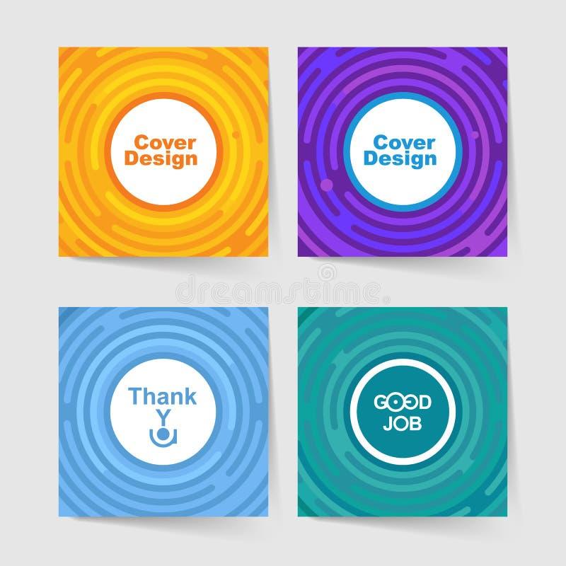 Satz Schablonen für Abdeckungen mit Platz für Text oder Logo Kopieren Sie, kleben Sie Musterabdeckung mit leerem Platz lizenzfreie abbildung
