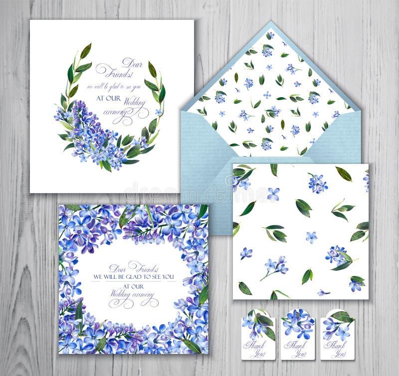 Satz Schablonen für Grüße oder Einladungen zur Hochzeit stock abbildung