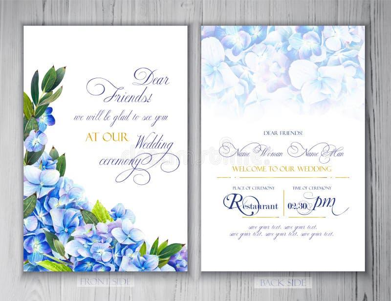 Satz Schablonen für Grüße oder Einladungen zur Hochzeit lizenzfreie abbildung