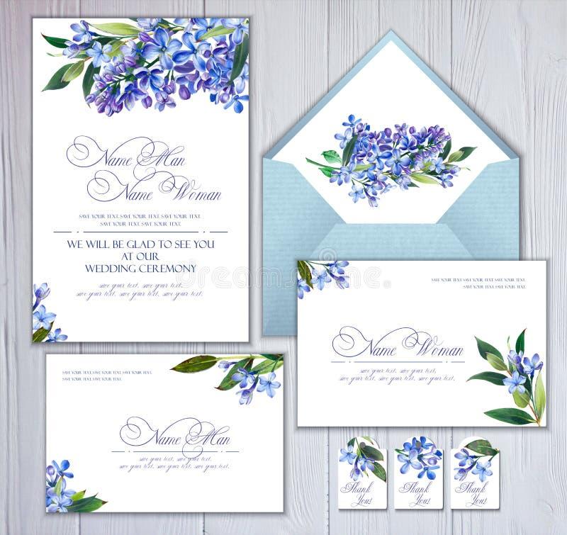 Satz Schablonen für Grüße oder Einladungen zur Hochzeit Blaue Blumen, Flieder und Zweige mit Blättern lizenzfreie abbildung