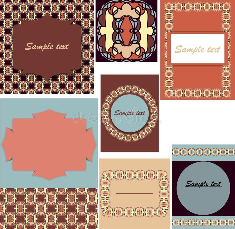 Satz Schablonen für Karten, Hochzeit, Geburtstagseinladungen mit Orn stockfoto