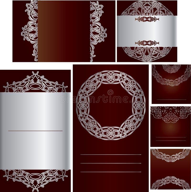 Satz Schablonen für Karten, Hochzeit, Geburtstagseinladungen mit Orn lizenzfreie stockbilder