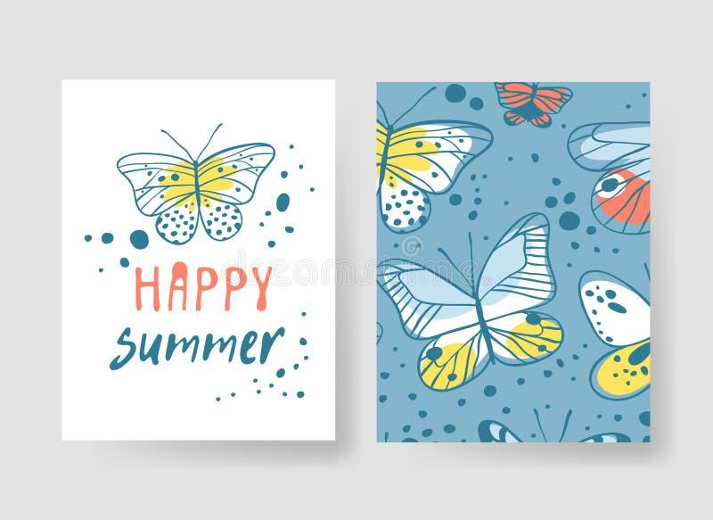 Satz Schablonen für Sommerkarten Hand gezeichneter Vektor kopiert Broschüren mit Schmetterling vektor abbildung