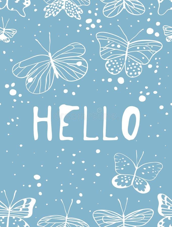 Satz Schablonen für Sommerkarten Hand gezeichneter Vektor kopiert Broschüren mit Schmetterling lizenzfreie abbildung