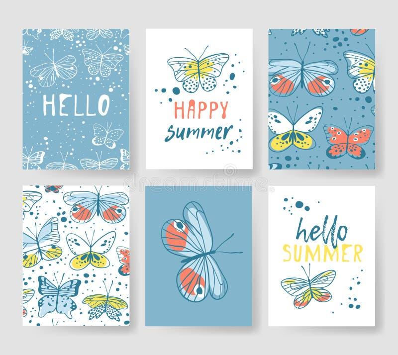 Satz Schablonen für Sommerkarten Hand gezeichneter Vektor kopiert Broschüren mit Schmetterling stock abbildung