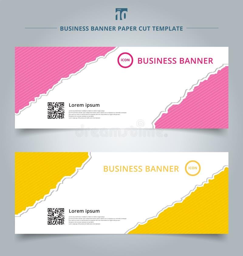 Satz Schablonenpapierrissnetz-Fahne rosa und gelbes Farbebackg lizenzfreie abbildung
