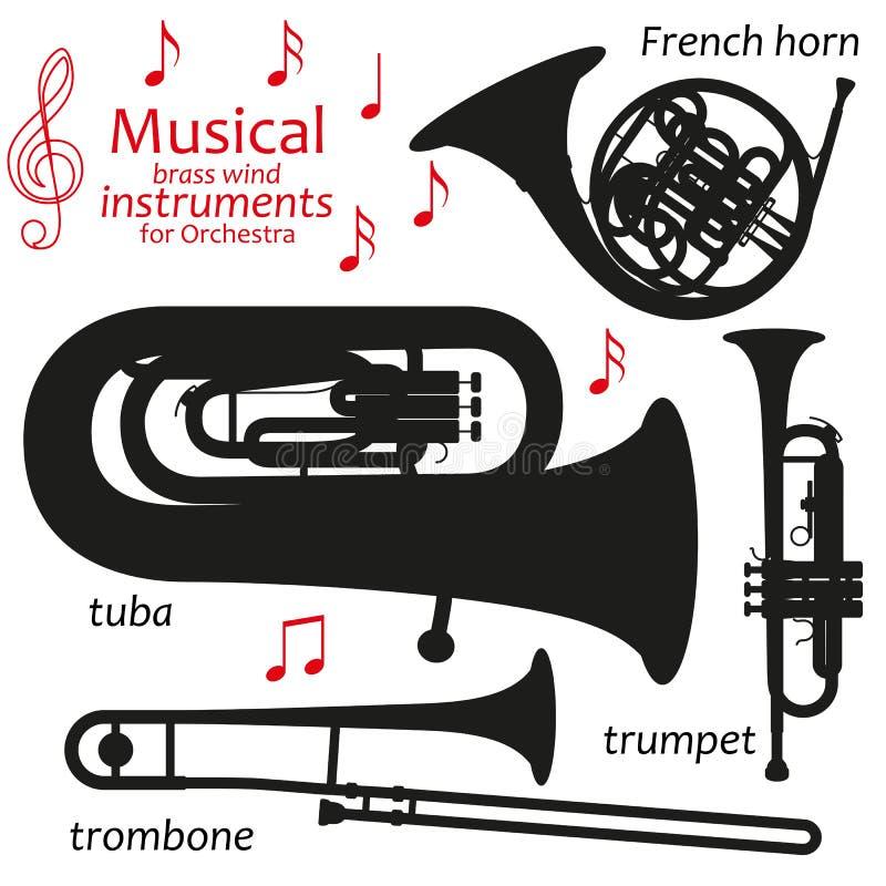 Satz Schattenbildikonen Blechblasinstrumente für Orchester Auch im corel abgehobenen Betrag vektor abbildung