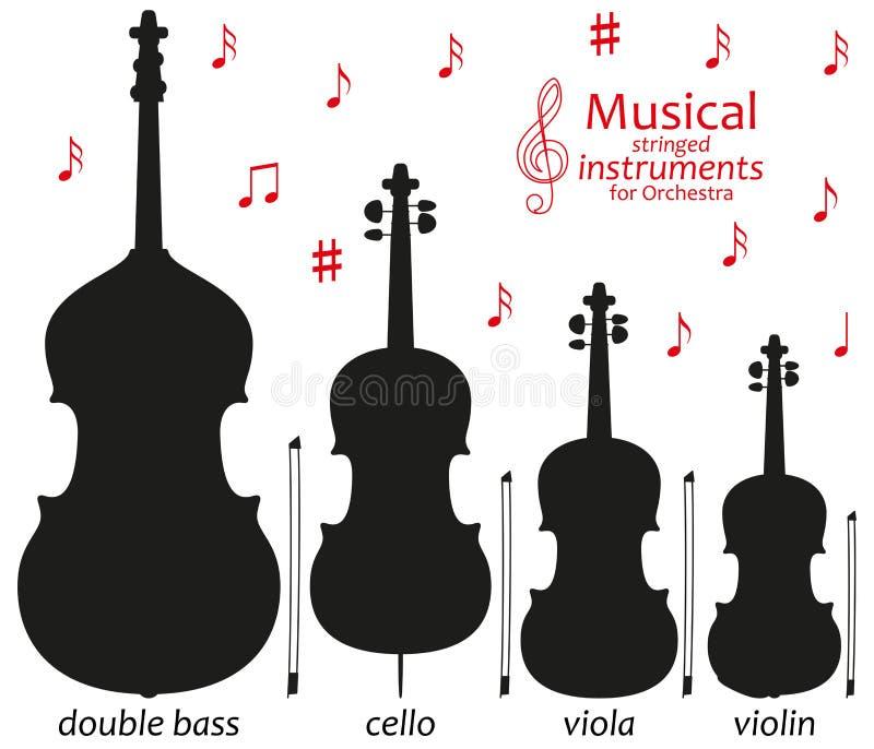 Satz Schattenbildikonen Musikalische Saiteninstrumente für Orchester Auch im corel abgehobenen Betrag stock abbildung