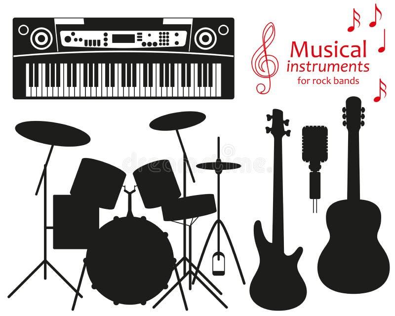 Satz Schattenbildikonen Musikinstrumente für Rockbände stock abbildung