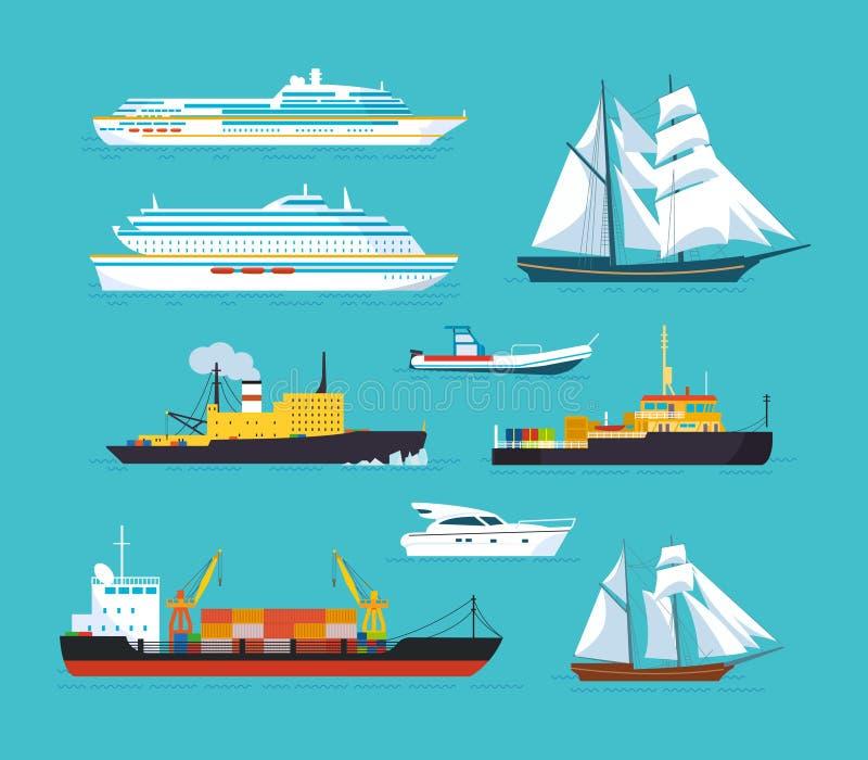 Satz Schiffe in der modernen flachen Art: Schiffe, Boote, Fähren lizenzfreie abbildung