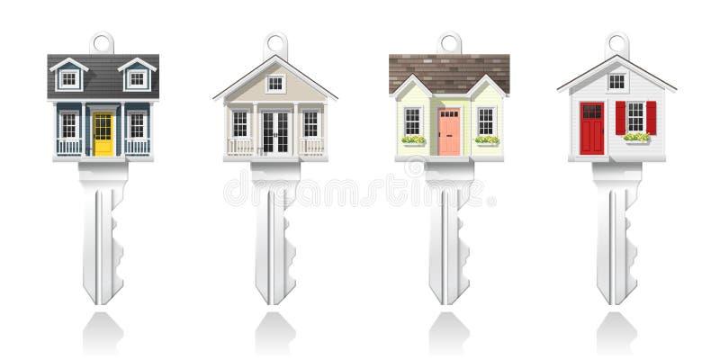 Satz Schlüssel des kleinen Hauses lokalisiert auf weißem Hintergrund, Vektor lizenzfreie abbildung