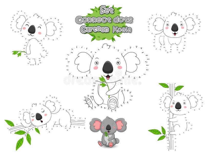 Satz schließen Dots Draw Cute Cartoon Koala und die Farbe an Lernspiel f?r Kinder Vektor-Illustrations-Tierrahmen lizenzfreie abbildung
