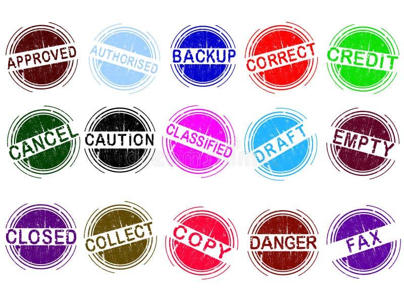 Satz Schmutzart mit 15 Büro-Stempeln lizenzfreie abbildung