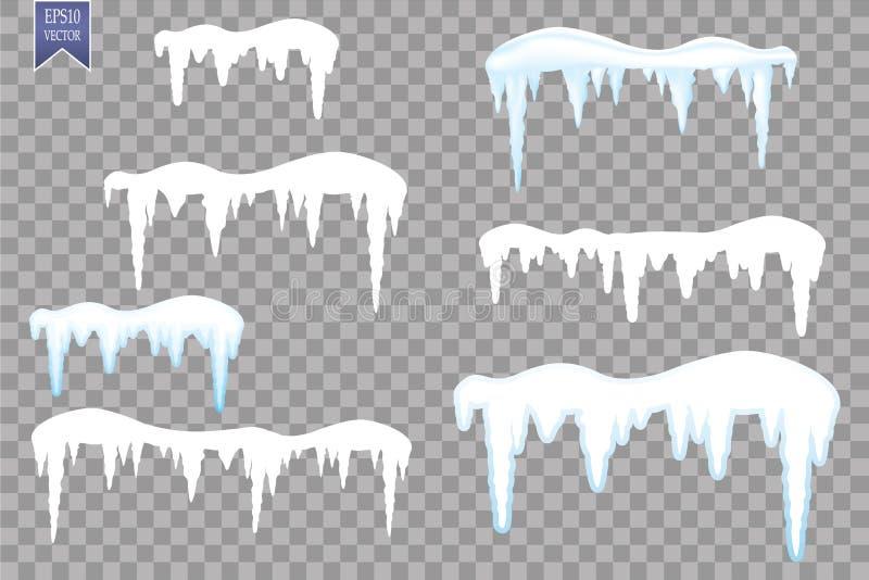 Satz Schneeeiszapfen, Schneekappe lokalisiert auf transparentem Hintergrund Snowy-Elemente auf Winterhintergrund Rand der Farbban vektor abbildung