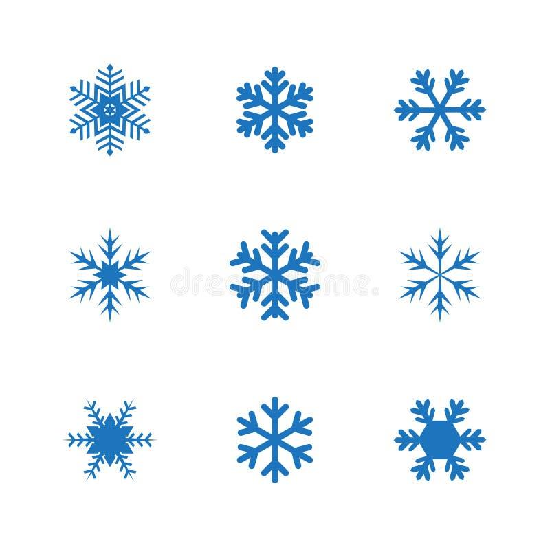 Satz Schneeflockenvektor-Illustrationsikonen stock abbildung