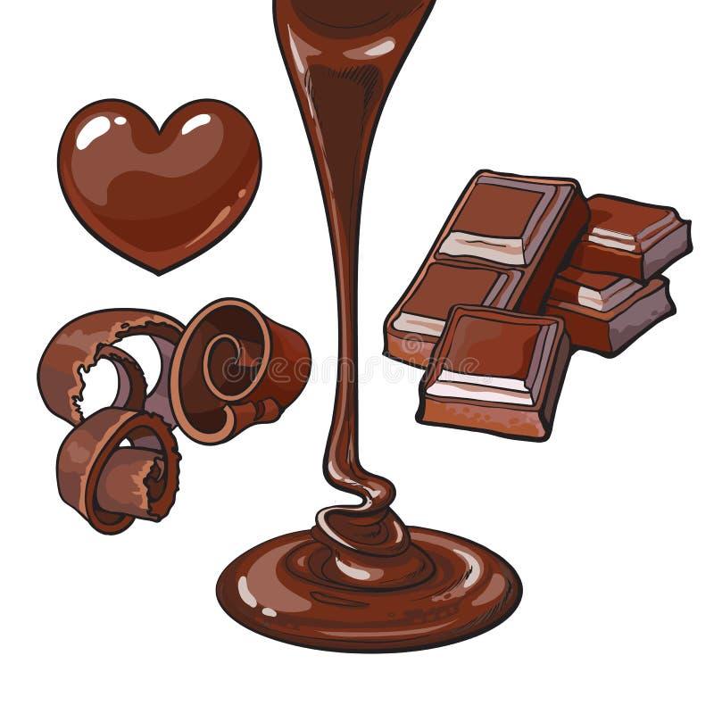 Satz Schokolade - Herz formte die Süßigkeit und rasierte, Stange, Flüssigkeit stock abbildung