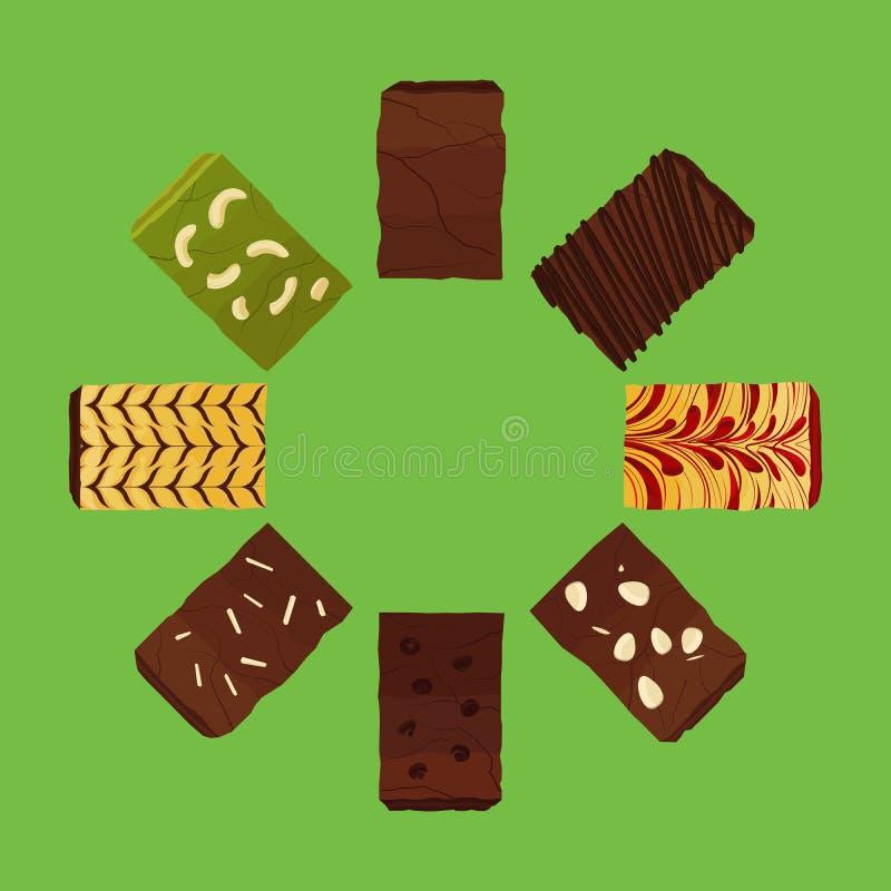 Satz Schokoladenkuchen Vektor und Ikone vektor abbildung