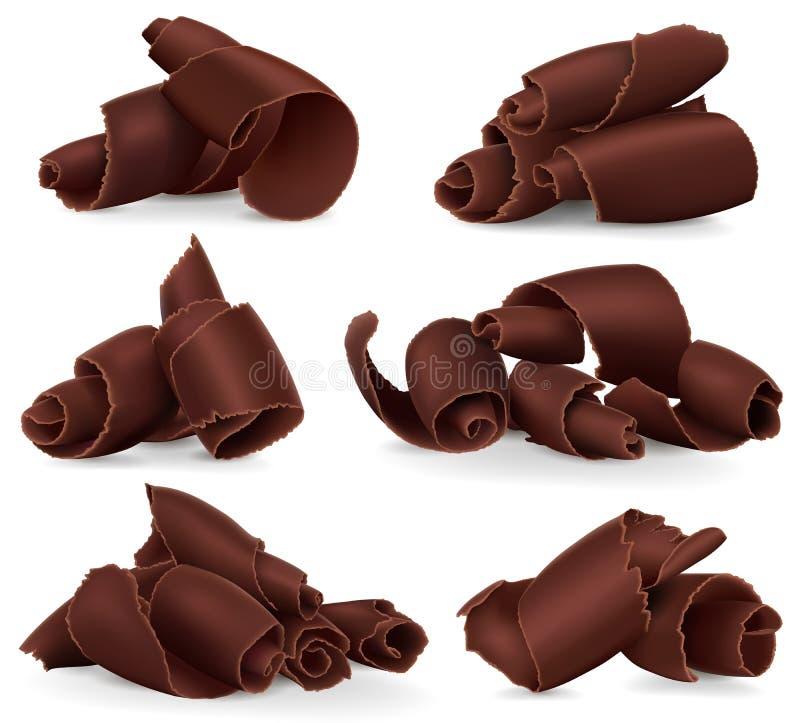 Satz Schokoladenschnitzel auf weißem Hintergrund lizenzfreie abbildung